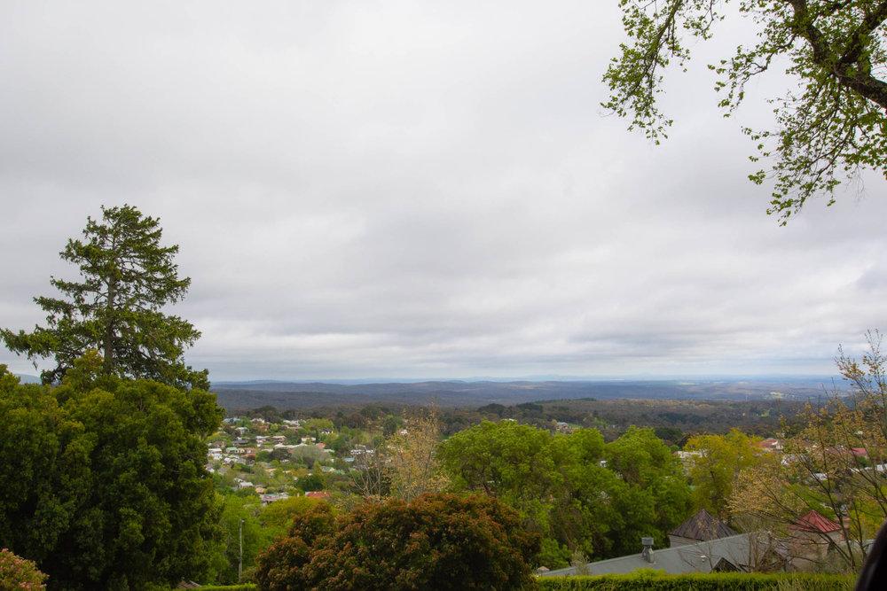 View when leaving Wombat Hill botanic gardens