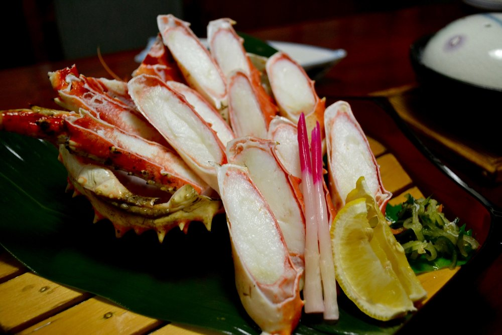 Boiled King Crab legs at Kani Honke