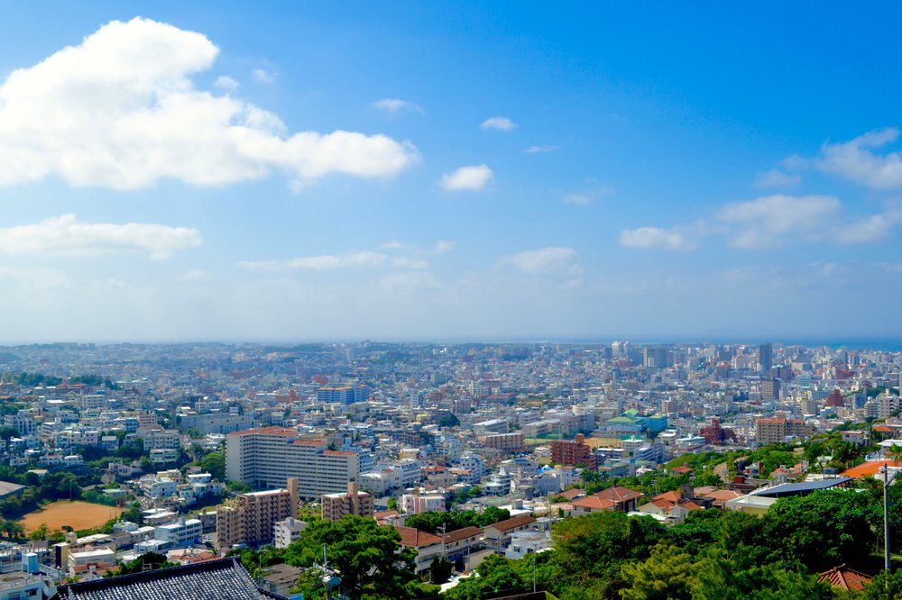View of Naha City from view point in Shuri Castle grounds