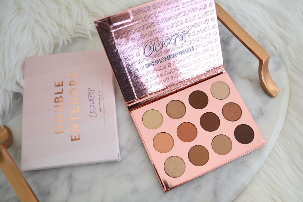- Details from colourpop.com:Double Entendre is the perfect palette for everyone! Your new go-to, your ride or die, your partner in crime - this palette holds the ultimate everyday, nude neutrals. With 12 shades, ranging from cool to warm, matte to metallic, you and this palette will be inseparable.You can never have too many nudes...Highly pigmented shadow that applies evenly and feels ultra-velvety and silky. This long wearing formula contains a unique combination of softer powders which adheres easily to the eyes, gives a soft focus effect, and blends smoothly and evenly.The palette contains 12 shades with a mixture of matte, metallic, and satin finishes.