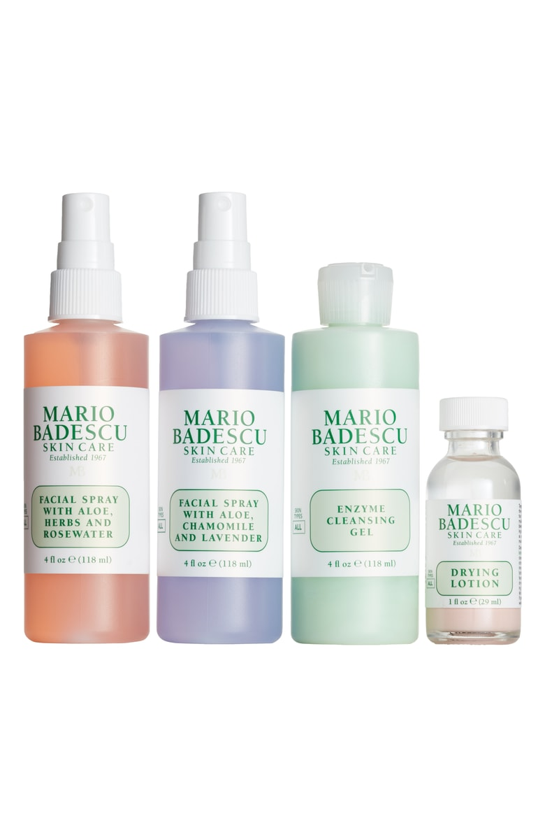 - The Mario Badescu Facial Spray seriously is so hyped up right now and I've been really curious about trying it. AND the award-winning Drying Lotion is supposed to be amazing for acne, so I definitely need that. The Enzyme Cleansing Gel is also a popular product, so I guess that's why the set is named 'Latest & Greatest'...? ;)