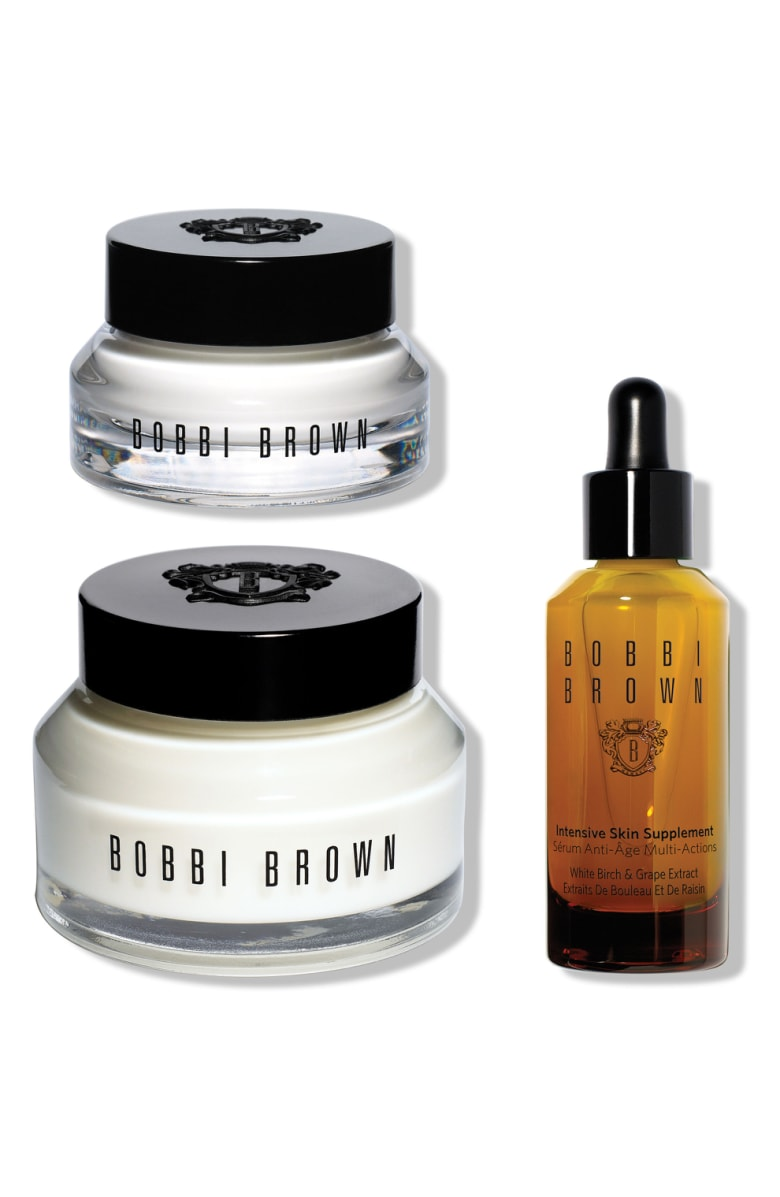 - I might be the most excited about this set. If you've been following along with my blog for a while, you know I LOVE Bobbi Brown skincare products. I currently use both the Hydrating Eye Cream and the Hydrating Face Cream, and I've been dying to try the Intensive Skin Supplement!