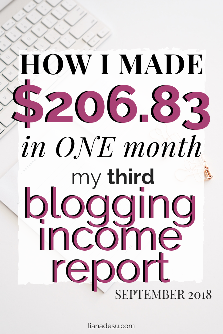 How I made $206.83 in one month from blogging! My September 2018 Income Report