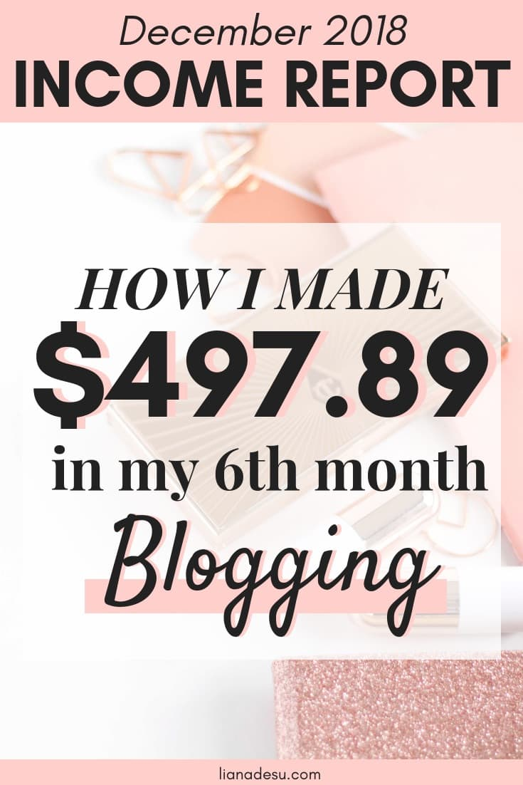 December 2018 Blogging Income Report - Find out how I made $497.89 in my 6TH MONTH of monetizing my blog, with a full-time job, and how you can make money online blogging too! #blogging #blogmonetization #makemoneyblogging #makemoneyonline #incomereport
