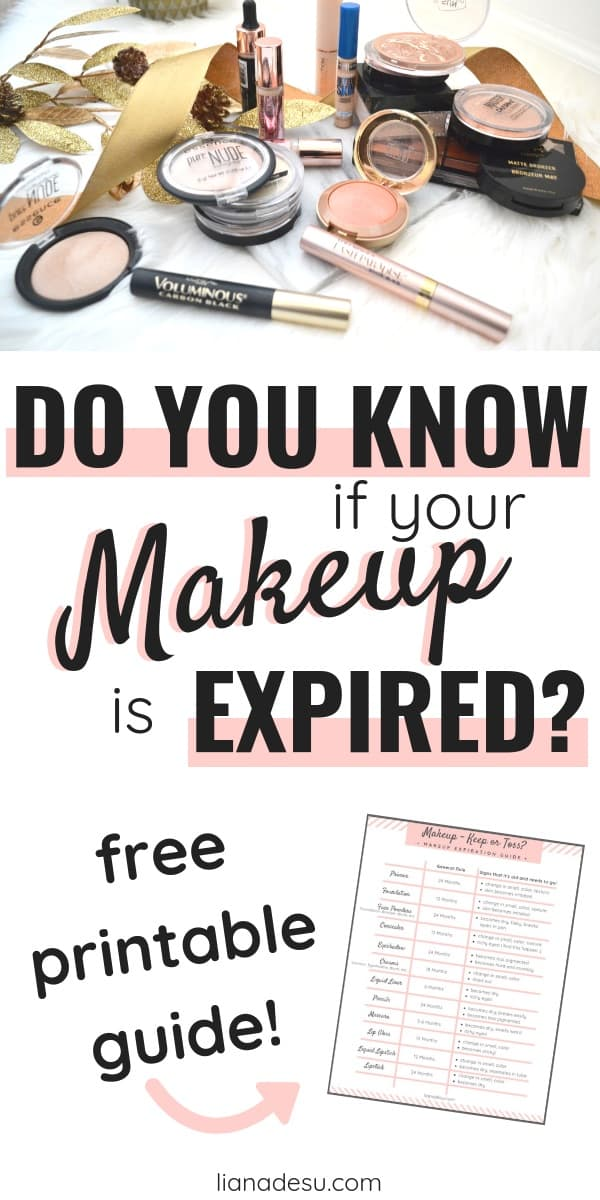 Do you know when your makeup is expired? When should you throw it out? Declutter your makeup collection by getting rid of old expired makeup with this makeup expiration guide! Free printable chart available! #makeup #expiration #guide