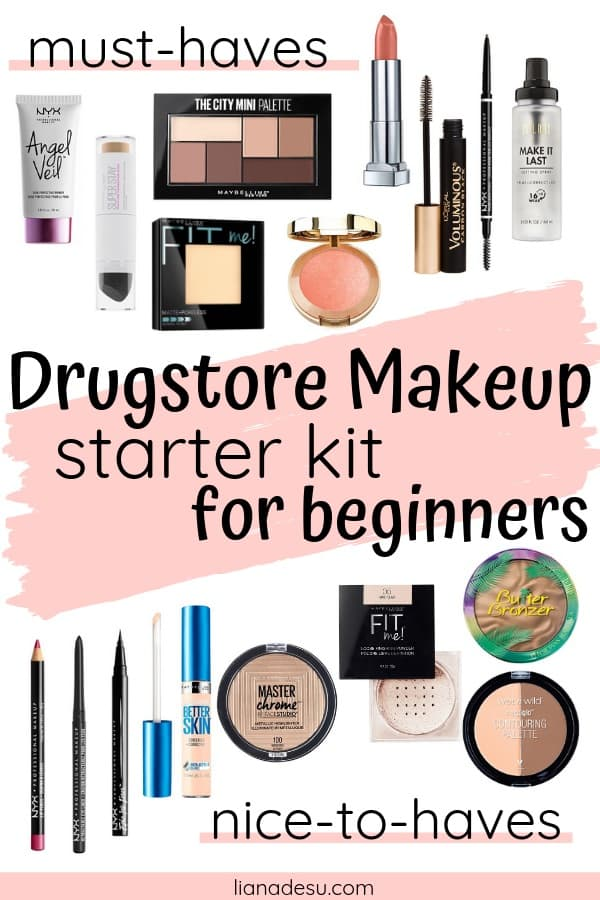 The ultimate drugstore makeup starter kit for beginners! In this post, you'll find a list of makeup products for beginners and basic makeup for beginners on a budget. Let's get your drugstore makeup kit on a budget started today! Free Printable List shopping list inside! #drugstore #makeup #beginner