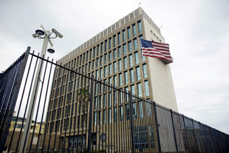 PHOTO: An exterior view of the U.S. Embassy is seen in Havana, Cuba, June 19, 2017. Alexandre Meneghini / Reuters file
