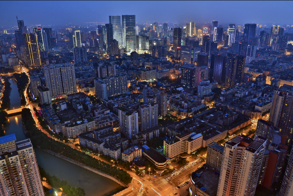 An aerial veiw of Chengdu at night (Credit: gochengdu.cn)