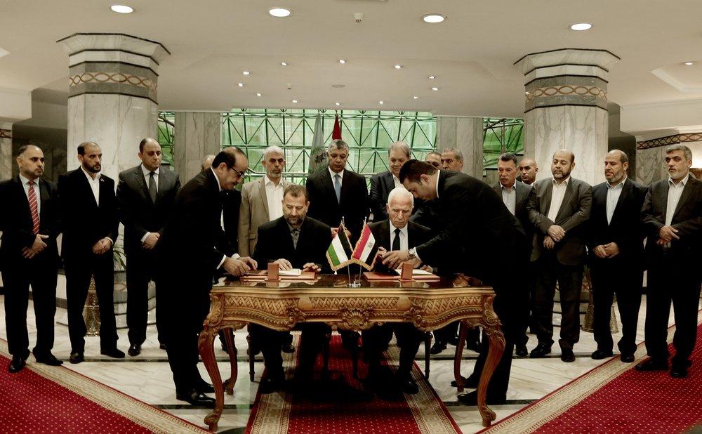 Photo: Fatah-Hamas Signees Photo Courtesy: Associated Press