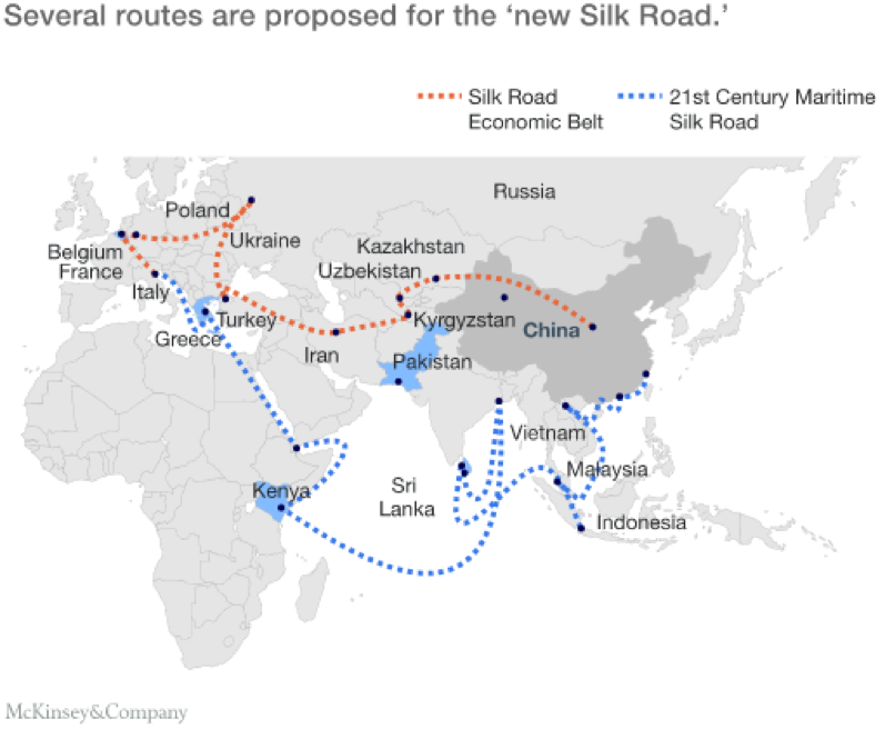 Outline of the Belt and Road Initiative  Photo Courtesy: McKinsey&Company (July 2016)