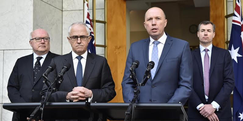 Australian Prime Minister Malcolm Turnbull (second left) during a speech (Photo: minister.border.gov.au)