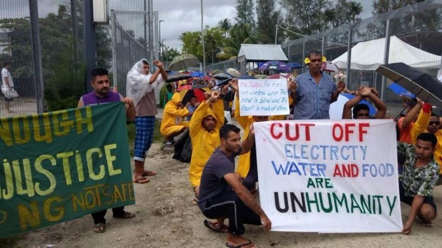 Refugees and asylum seekers at Australia's processing centre at Manus Island are pictured during a peaceful protest on Monday (Photo: The New Daily)