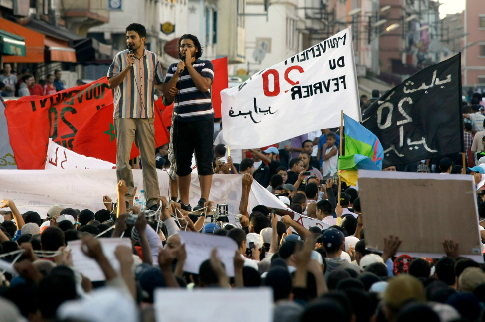 Moroccan protesters during the 20 February Movement, AP IMAGES