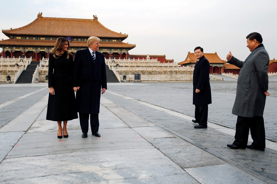 Donald and Maria Trump visiting the Forbidden City with President Xi Jinping      (Photo: The Atlantic)