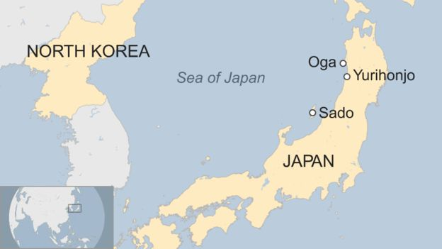 Map showing the proximity of Japan's coast to North Korea (Source:  BBC World News )