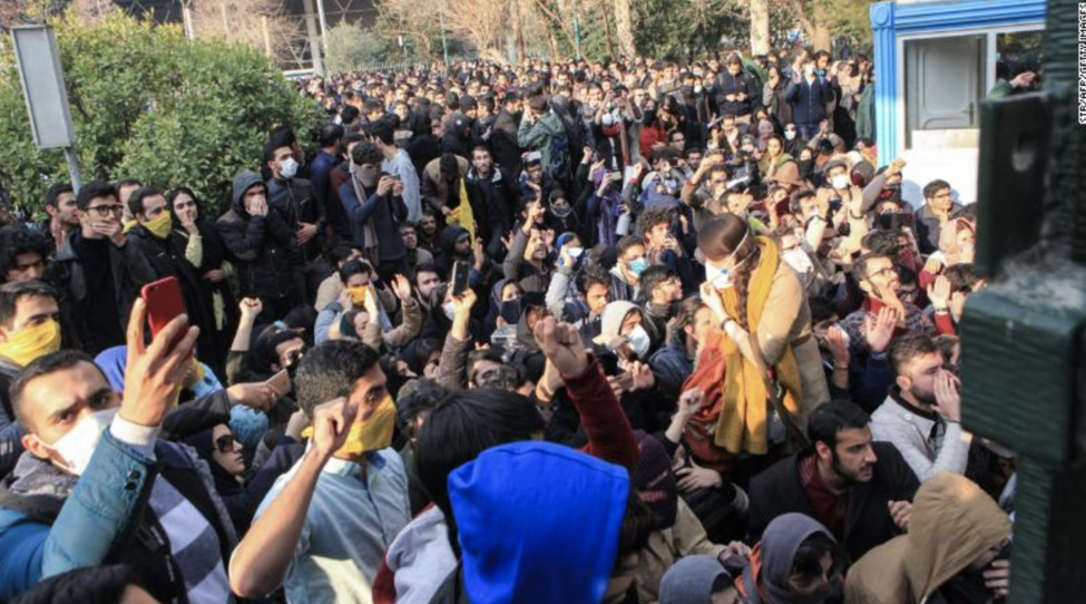 Students protest at the University of Tehran on December 30  Source: CNN
