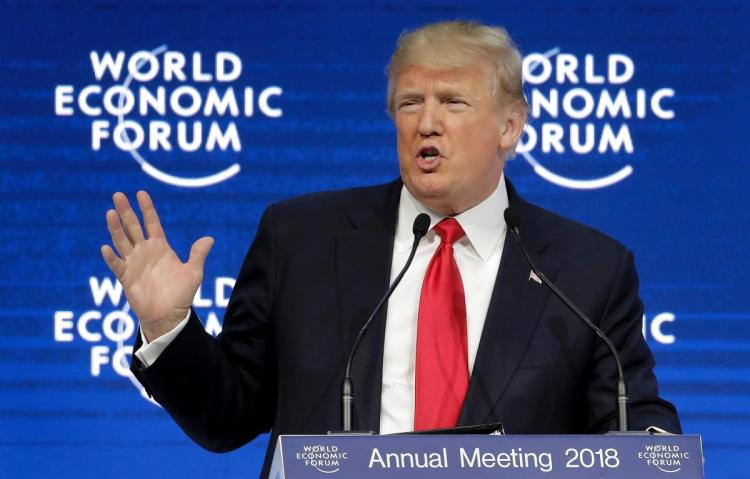 President Donald Trump speaking at the World Economic Forum at Davos, Switzerland (Associated Press)