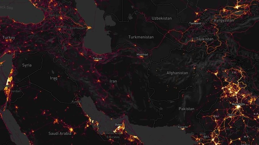Strava heat map of the Middle East (NPR News)