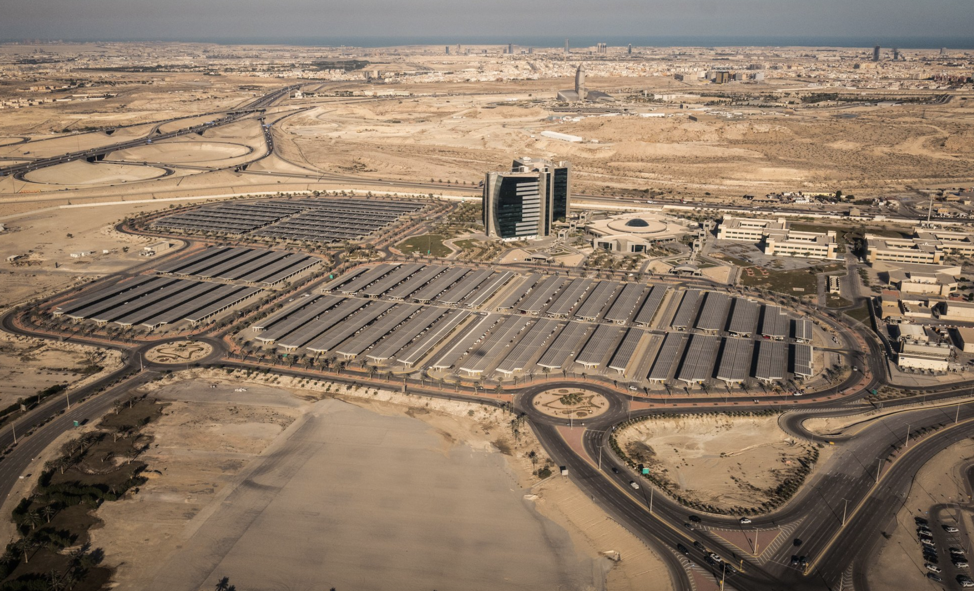Saudi Arabia's biggest solar farm, which covers a parking lot of Saudi Aramco, the national oil company. (Photo: CreditChristophe Viseux for The New York Times)