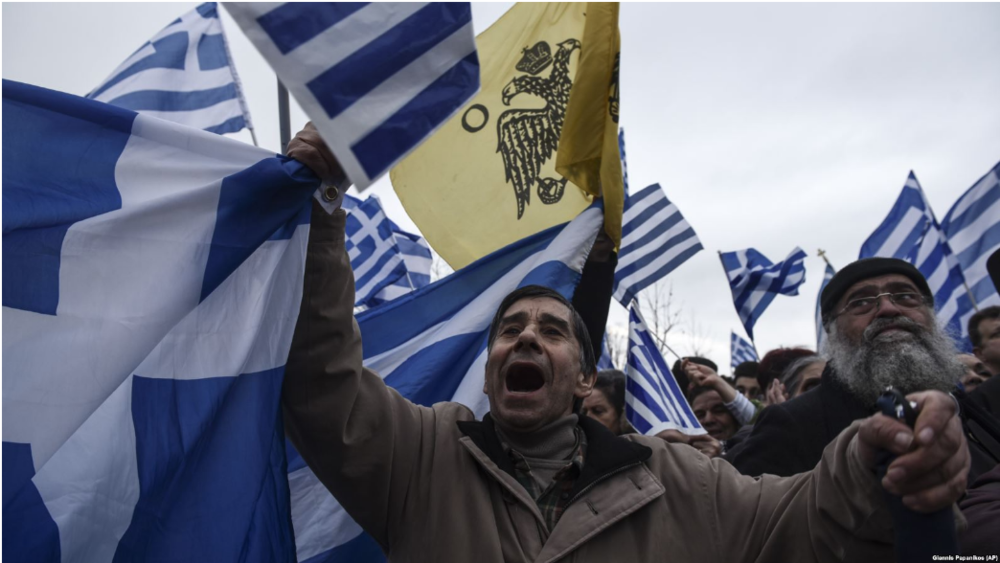 "[Protesters in the northern Greek of Thessaloniki rally against the use of ""Macedonia"" for the name of the northern neighboring country on Jan. 21, 2018. Photo: Giannis Papanikos (AP)]"