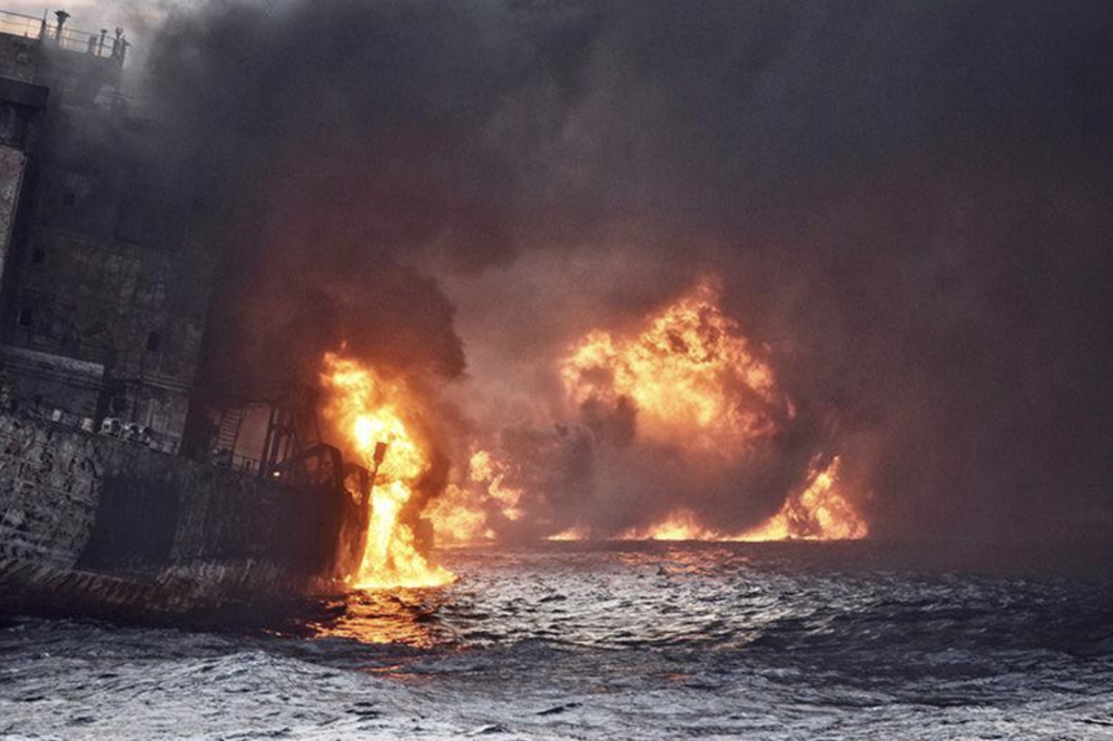 Flames envelop the Sanchi oil tanker on Jan 13. (Source: China Daily via Reuters)
