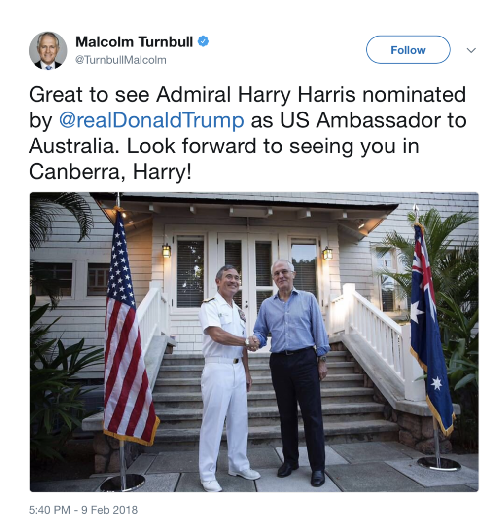 Australia's prime minister Malcolm Turnbull tweets to welcome Admiral Harry B. Harris as the new American Ambassador (Photo:https://twitter.com/TurnbullMalcolm/status/962139159405068288/photo/1)