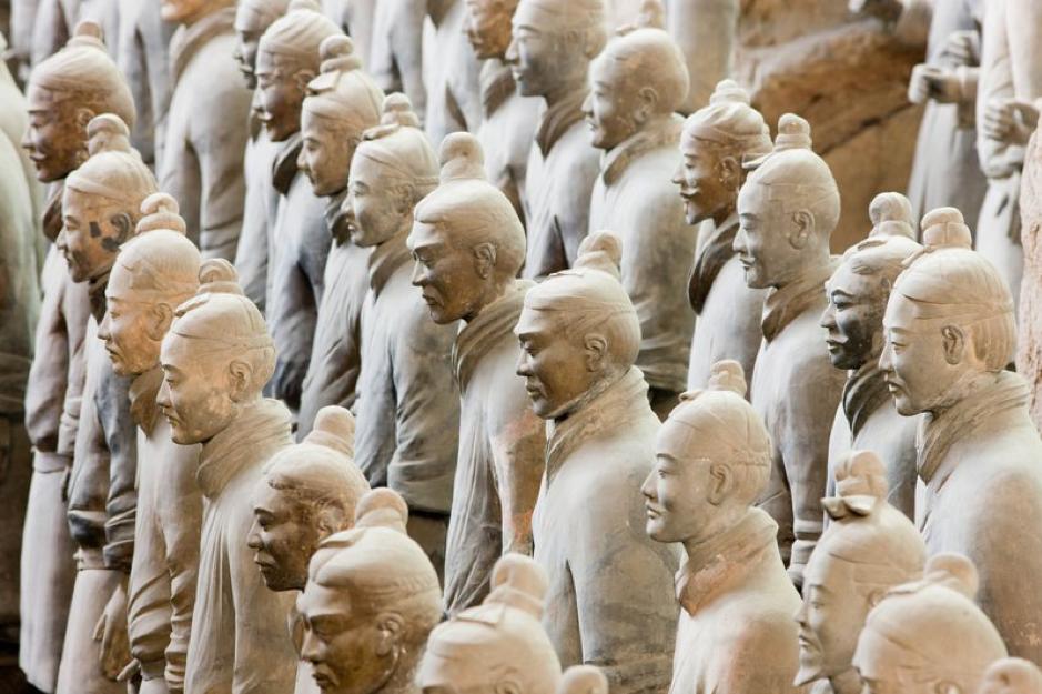 Chinese terracotta warrior  statues , Qin Museum, Xian, China