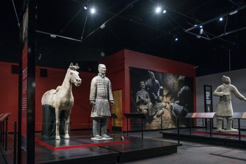 Photograph  of Terracotta Warriors exhibit at the Franklin Institute of Philadelphia