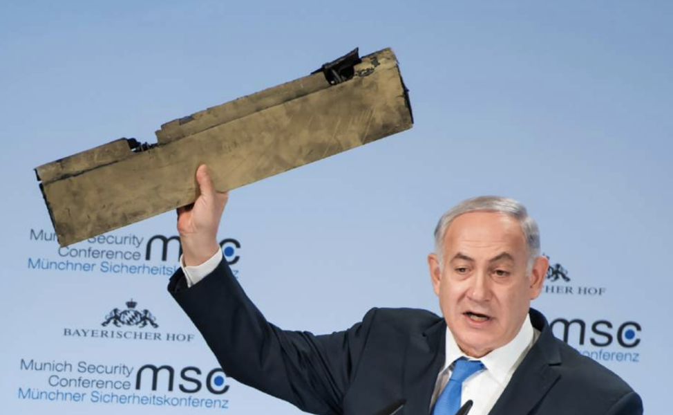 Israeli Prime Minister Benjamin Netanyahu speaking at the February 18 Munich Security Conference holds up a piece of the Iranian drone shot down in Israeli airspace. From: http://triblive.com/usworld/world/13321685-74/benjamin-netanyahu-in-munich-speech-urges-west-not-to-appease-iran