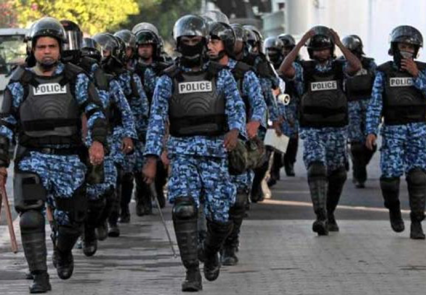 (The Maldivian police patrolling the streets after the Supreme Court crisis on Februray 5th, 2018; Credit: NewSonia, February 2018.  https://newsonia.com/report/maldives-declares-state-of-emergency-former-president-arrested/ ).