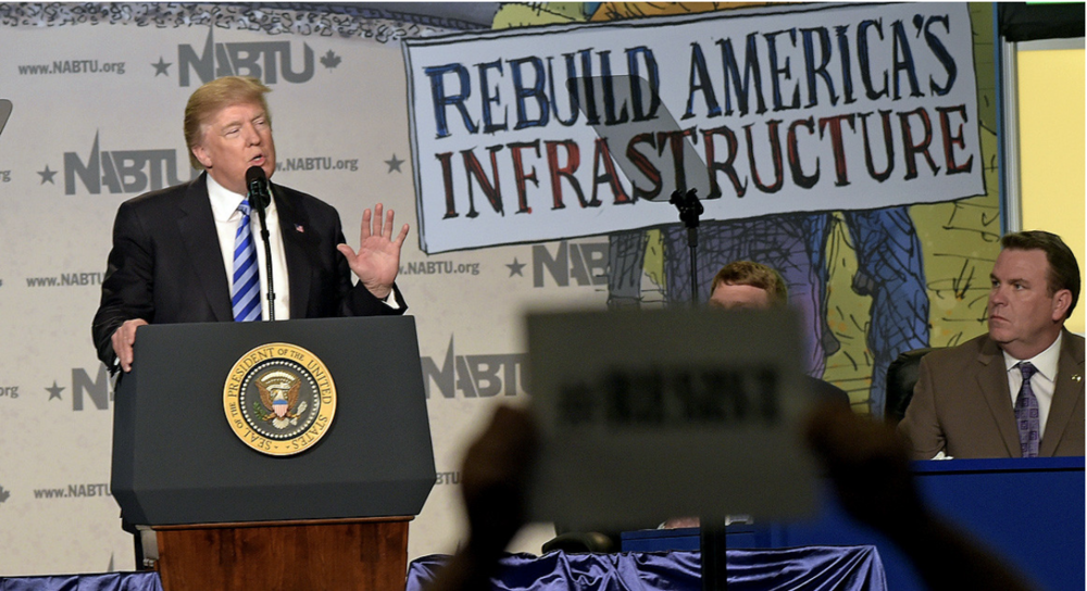 President Donald Trump speaks at the 2017 North America's Building Trades Unions National Legislative Conference. AP Photo