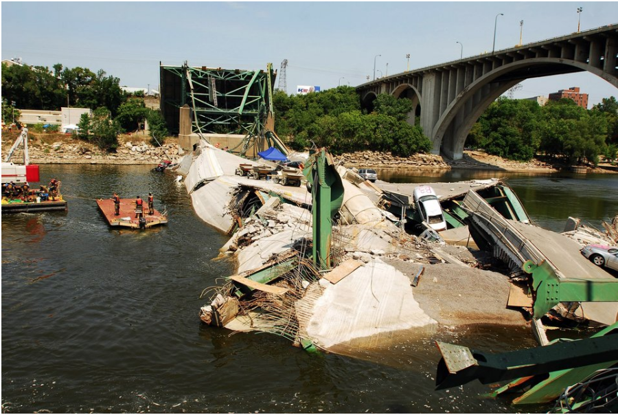 I-35 bridge collapse over the Mississippi River on August 7, 2007, in Minnesota. Getty Images