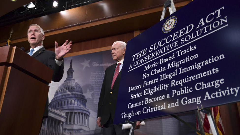Senator Tom Collin (R-NC) and Senator Orrin Hatch (R-UT) introduce a plan to replace DACA last September (Photo:Susan Walsh/AP)