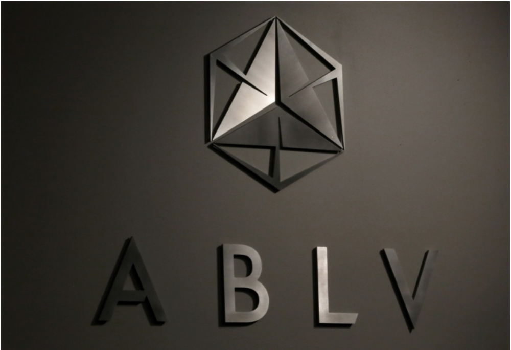 [Undated photo of a signboard for beleaguered ABLV Bank, Latvia's third largest bank. Photo: LETA]