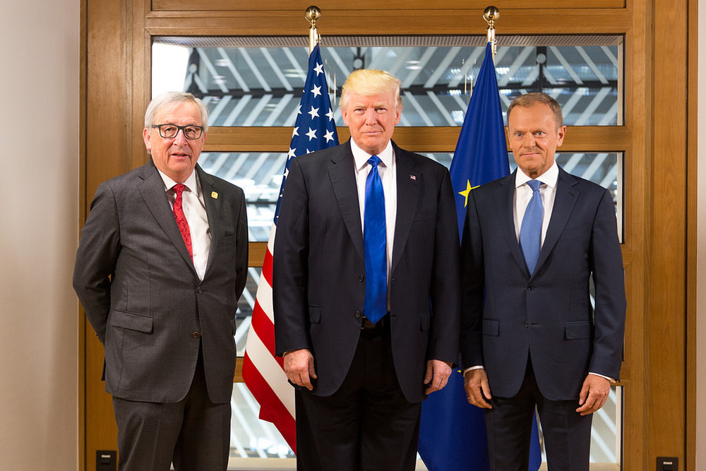 US President Donald Trump meeting with European Commission President Jean-Claude Juncker and European Council President Donald Tusk in May 2017. Source:  Shealah Craighead/US-UK Embassy