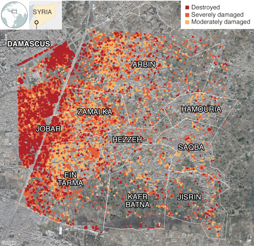 A map of the damage in Eastern Ghouta, Syria. Source:  http://www.bbc.com/news/world-middle-east-43154146