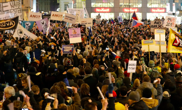 Mass protests in Prague on Monday March 5th in response to Zdenek Ondracek's appointment as Chairman of Parliamentary Law Enforcement (Washington Post)