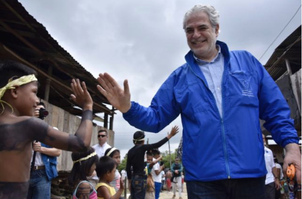 Photo: Christos Stylianides' visit to Colombia, meeting the La Palma indigenous community.