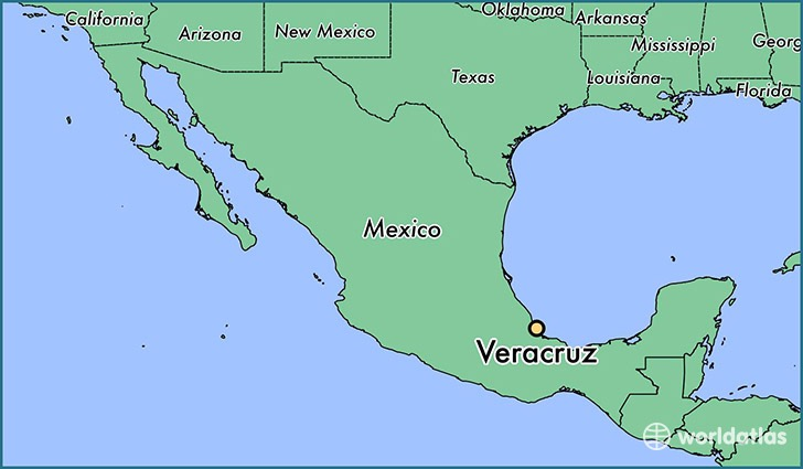 Photo: Location of Veracruz state where Vázquez was killed (Source:  worldatlas )