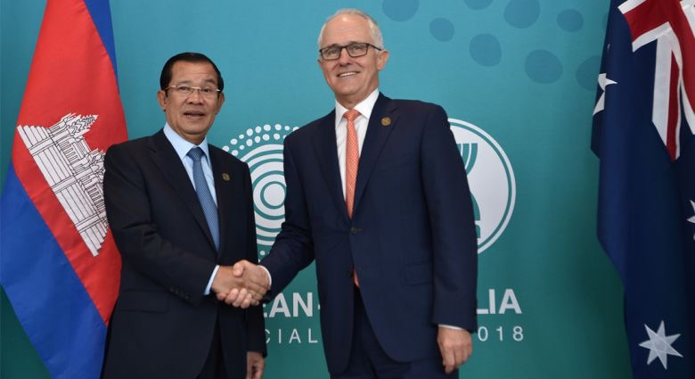 Cambodian Prime Minister Hun Sen and Australian Prime Minister Malcolm Turnbull shake hands during ASEAN-Australia Special Summit. (Source:  AFP )