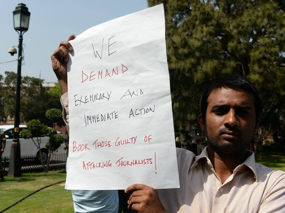 Photograph  of Indian protester against killing of journalists, India, March 2018