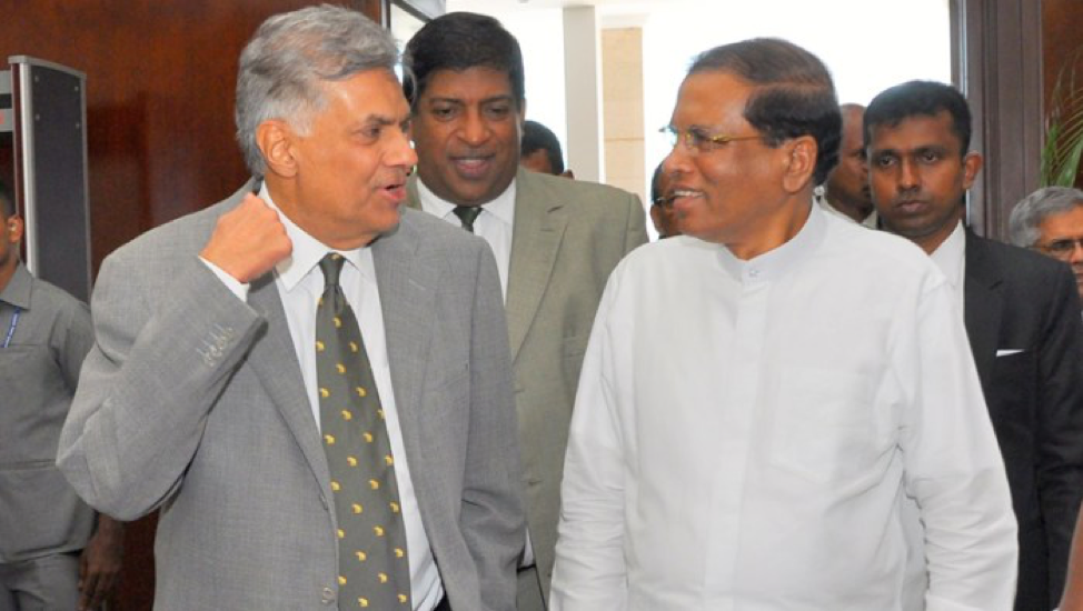 ( Prime Minister Wickremesinghe and President Sirisena ; Credit: NewsIn.Asia, March 21st, 2018).