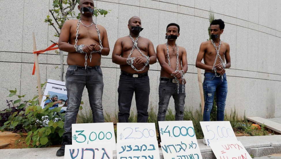 (African migrants protest the Israeli government's policy to forcibly deport African asylum seekers. From:  http://www.latimes.com/world/la-fg-israel-african-refugees-20180403-story.html )