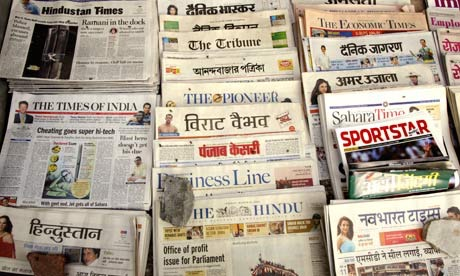 A collection of Indian newspapers. (Source:  Wikimedia Commons )
