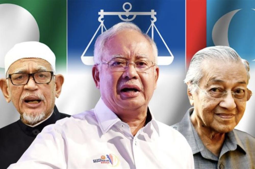 PAS President Abdul Hadi Awang (Left), BN Chairman Najib Razak (Center), and Pakatan Chairman Mahathir Mohamad (Source: The Star)