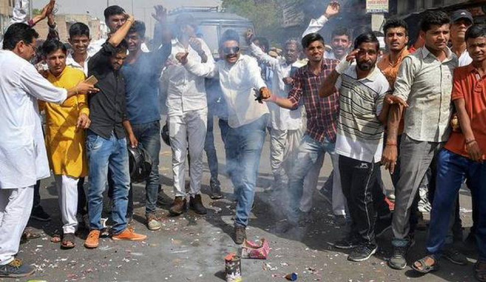 ( Bishnoi community celebrating Khan's conviction last Thursday;  Credit: The Hindu, April 5th, 2018).