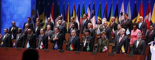 Photo: Heads of state at the 2015 Summit of the Americas (Source:  NACLA )