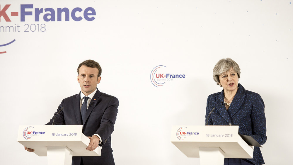 May coordinated with Emmanuel Macron and Donald Trump on the strike. Source:  Number 10/Flickr