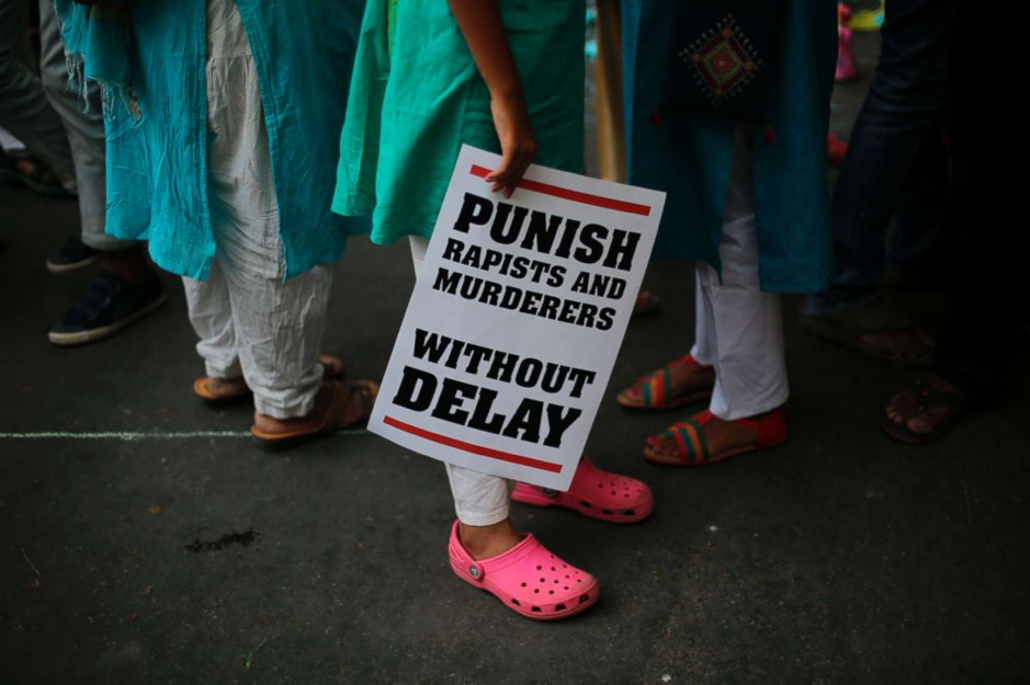 Photograph  of demonstrator's placard near New Delhi's Parliament, India, April 15th 2018