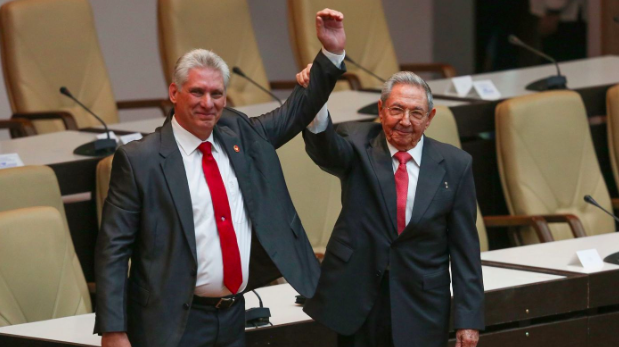 Cuban President Miguel Diaz-Canel (left) with predecessor Raul Castro (Los Angeles Times)